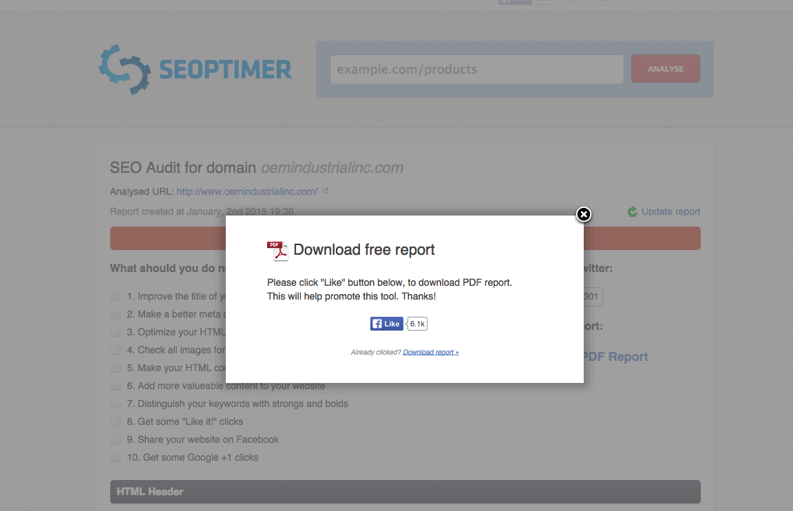 Seoptimer: Building an Online Audience