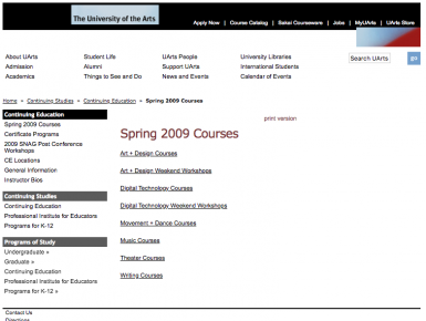 Custom Designed Education Website Database