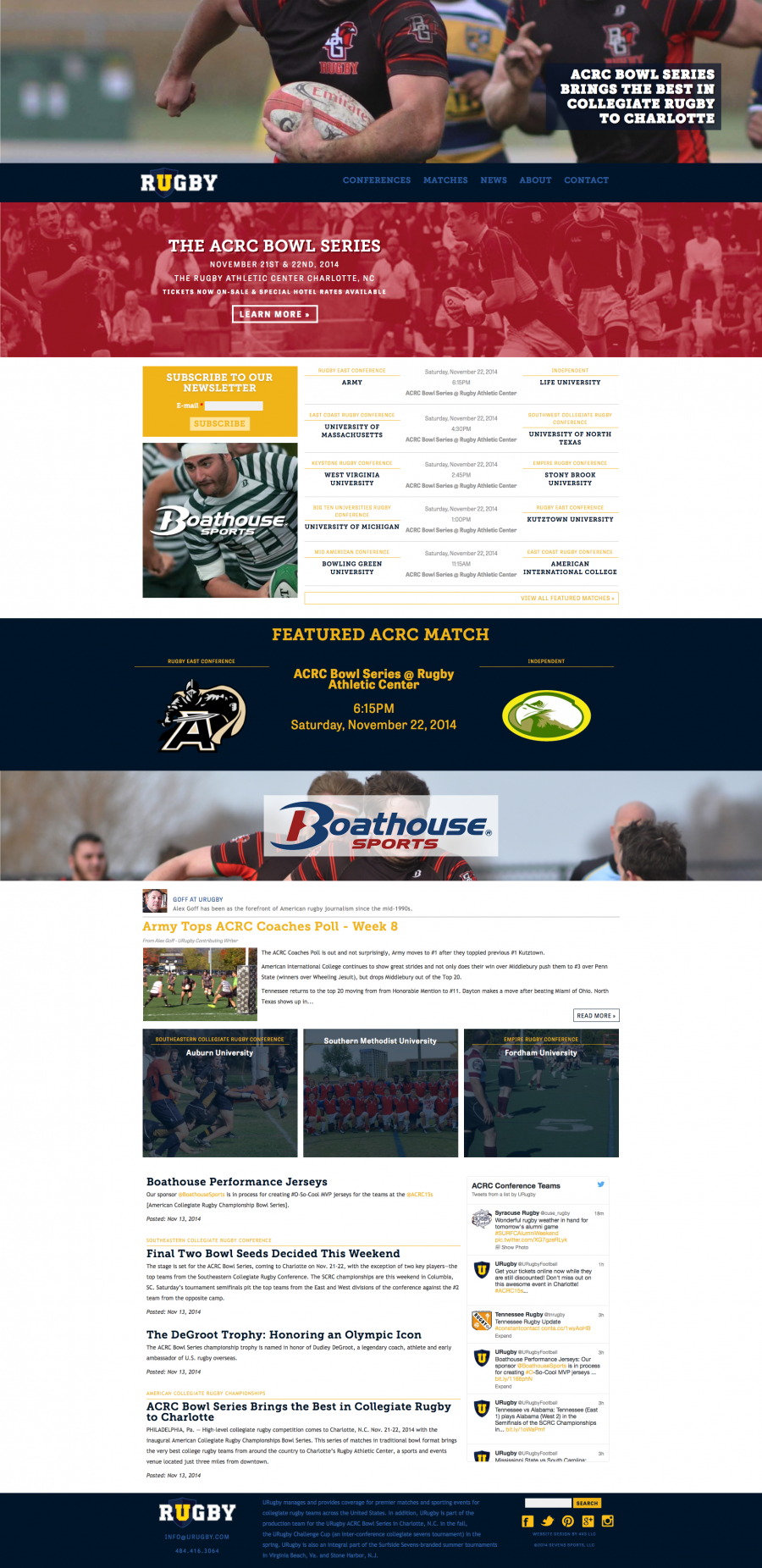 URugby, Front Intrnal Landing Page for Individual Leagues