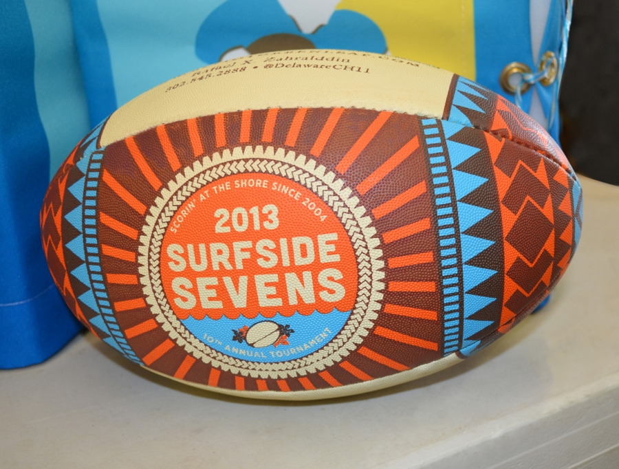 Surfside Sevens brand on the tournament Rugby Ball