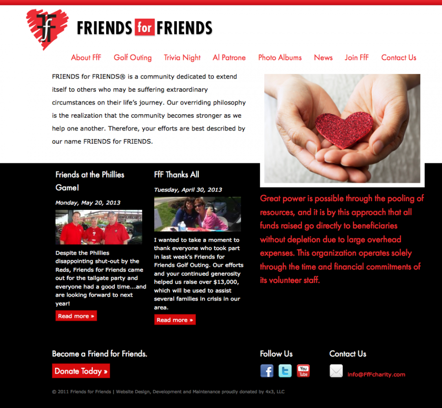 Friends for Friends Home Page Design