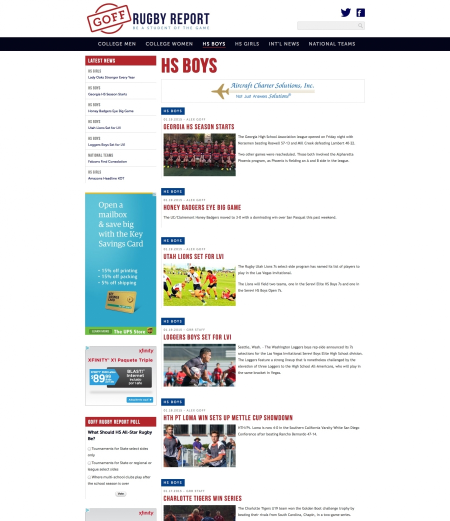 Internal Landing Page for News about HS Rugby
