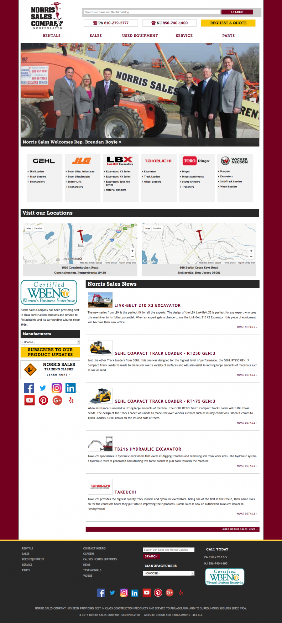 Norris Sales, Homepage featuring News, Maps, Manufacturers