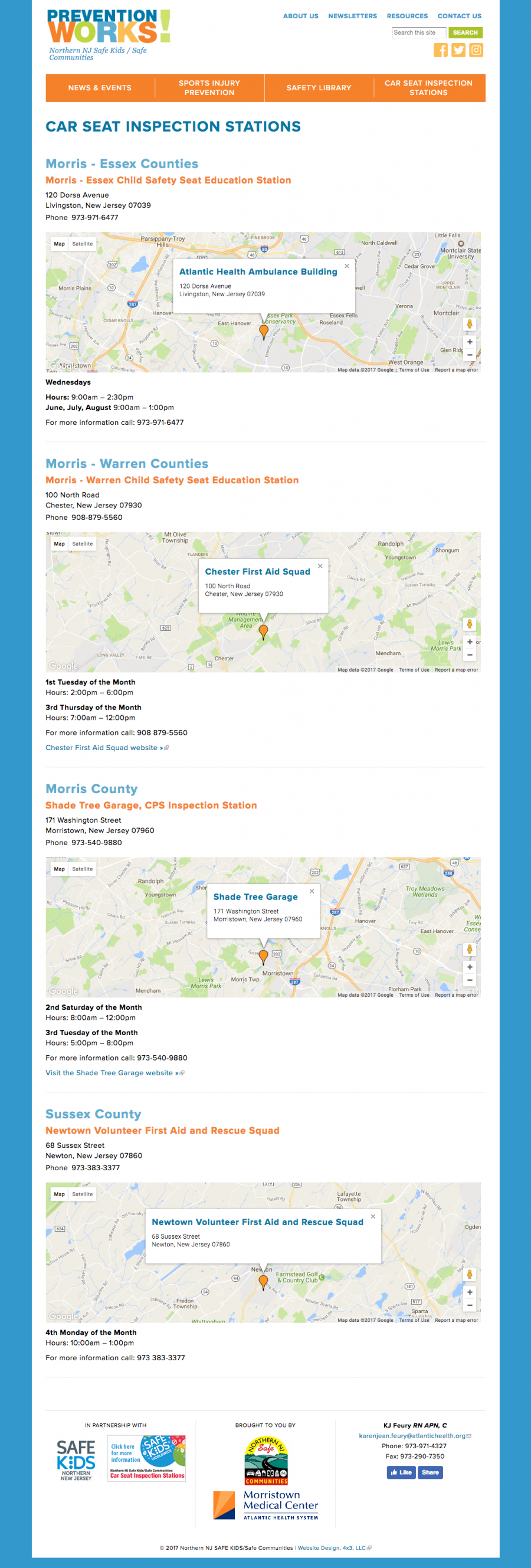 Prevention Works, Car Seat Inspections Location Page
