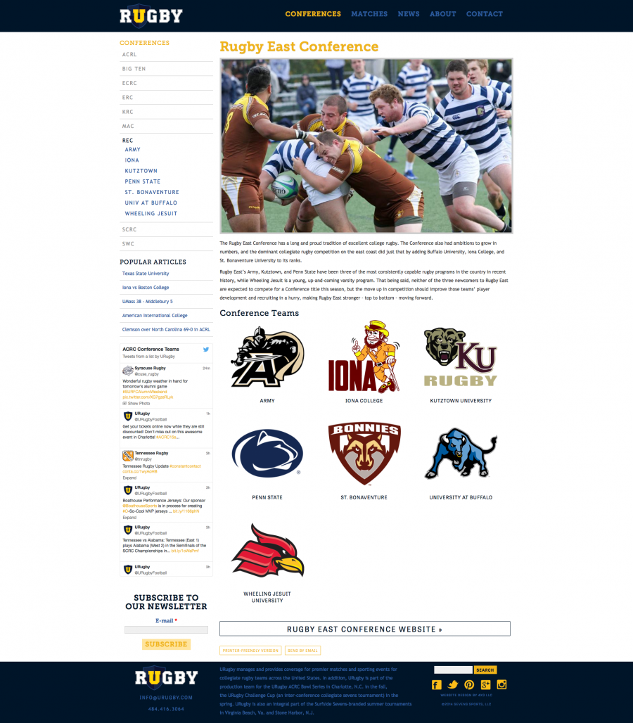 U Rugby, Internal Conference Landing Page