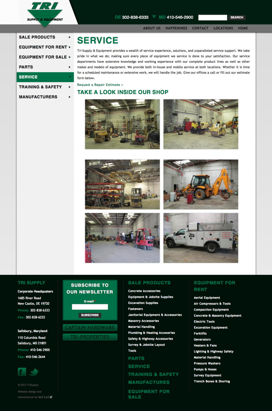 Tri Supply, Internal Landing Page