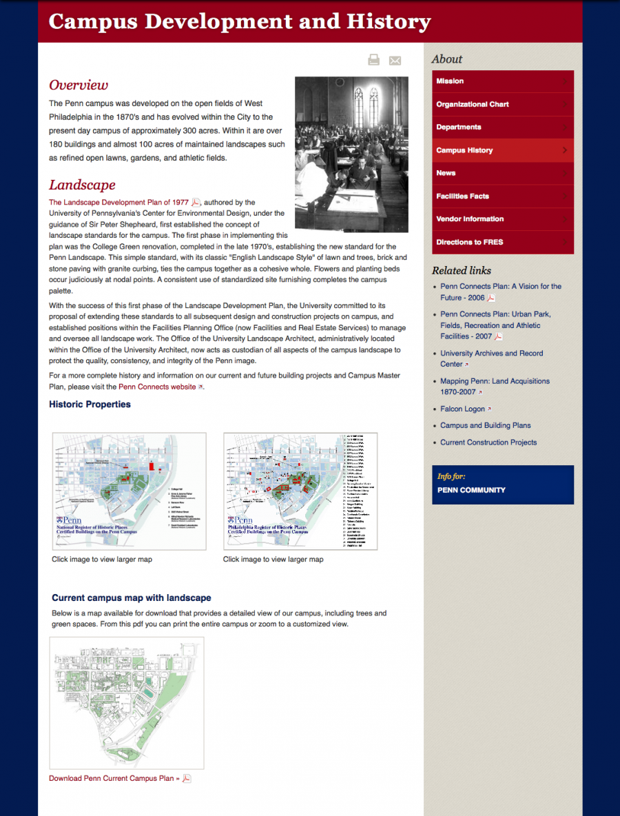 Penn Facilities and Real Estate Services Campus Development and History Landing Page