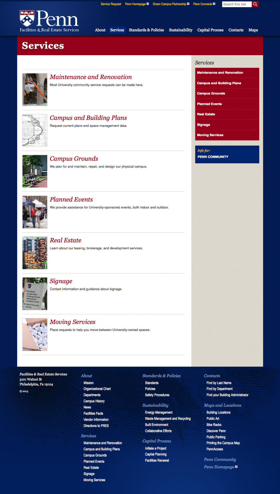 Penn Facilities and Real Estate Services Internal Landing Page of Services