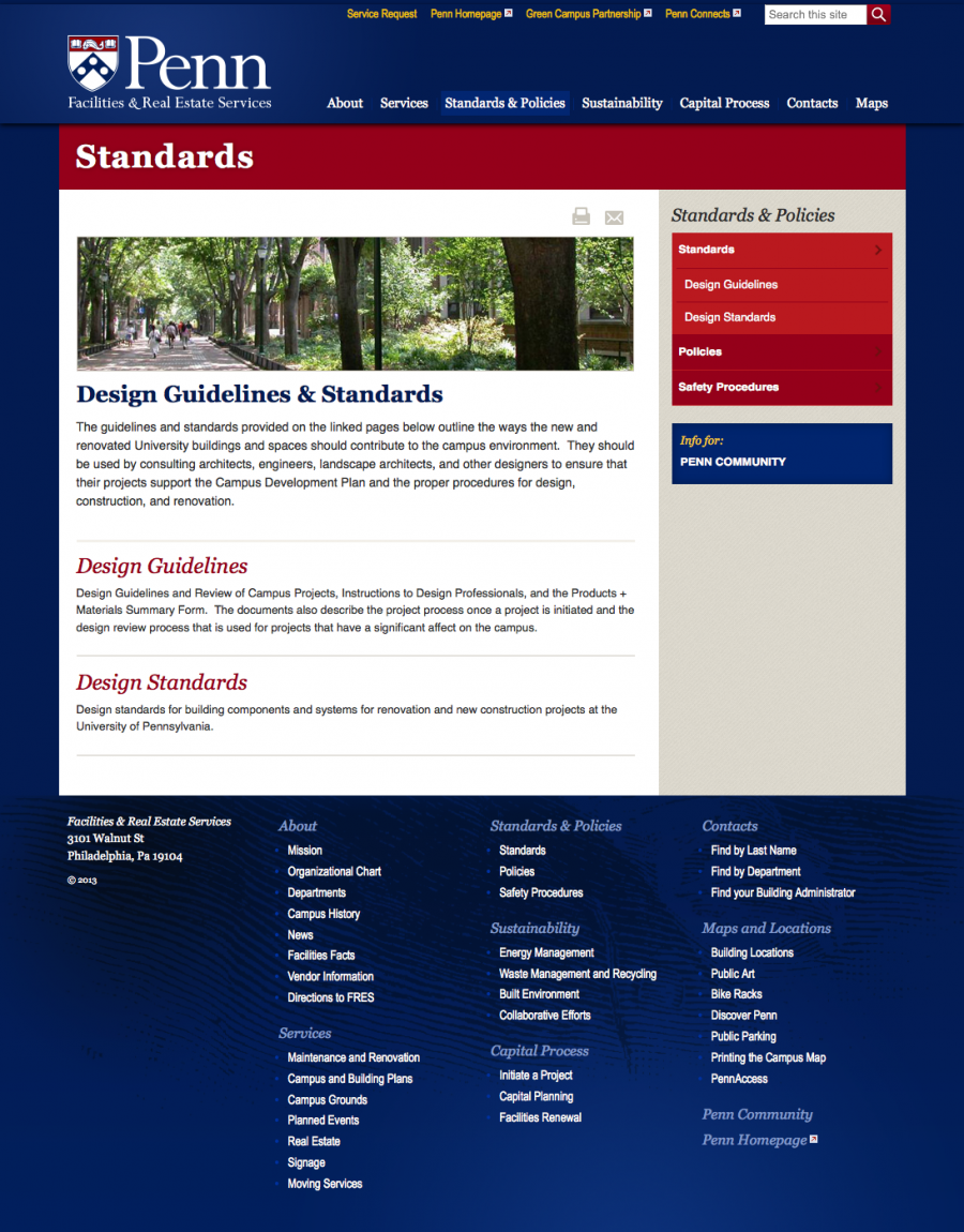 Penn Facilities and Real Estate Services Design Guidelines and Standards