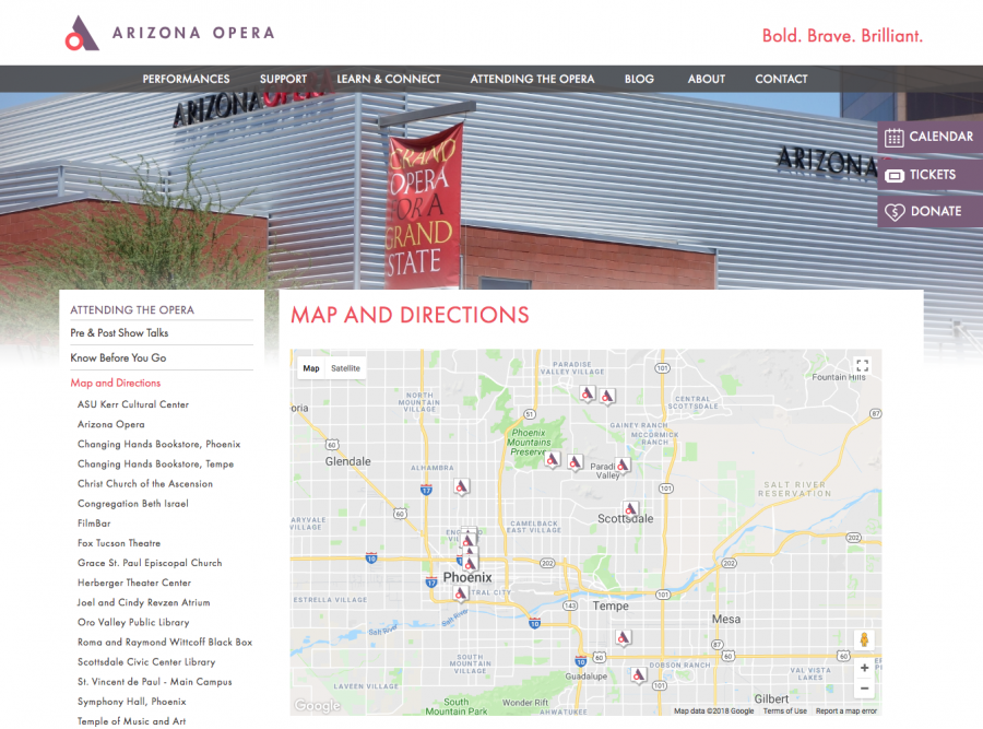 Arizona Opera Map on Directions Page