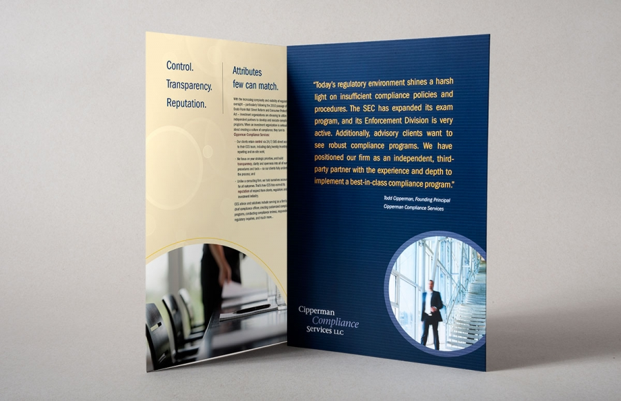 custom-designed brochures provided to CCS