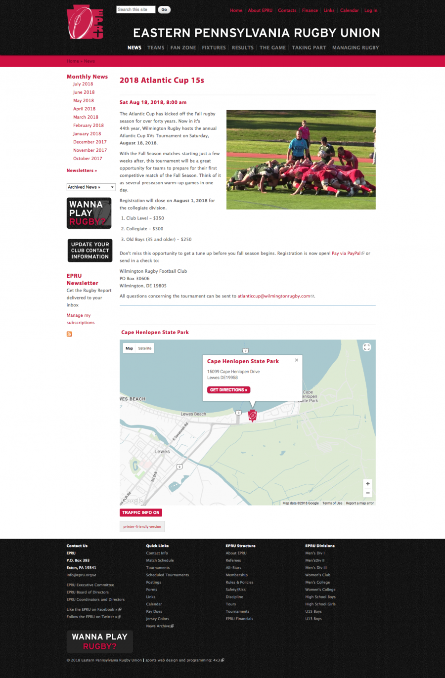 Eastern Pennsylvanian Rugby Union Map on Tournament Landing Pages