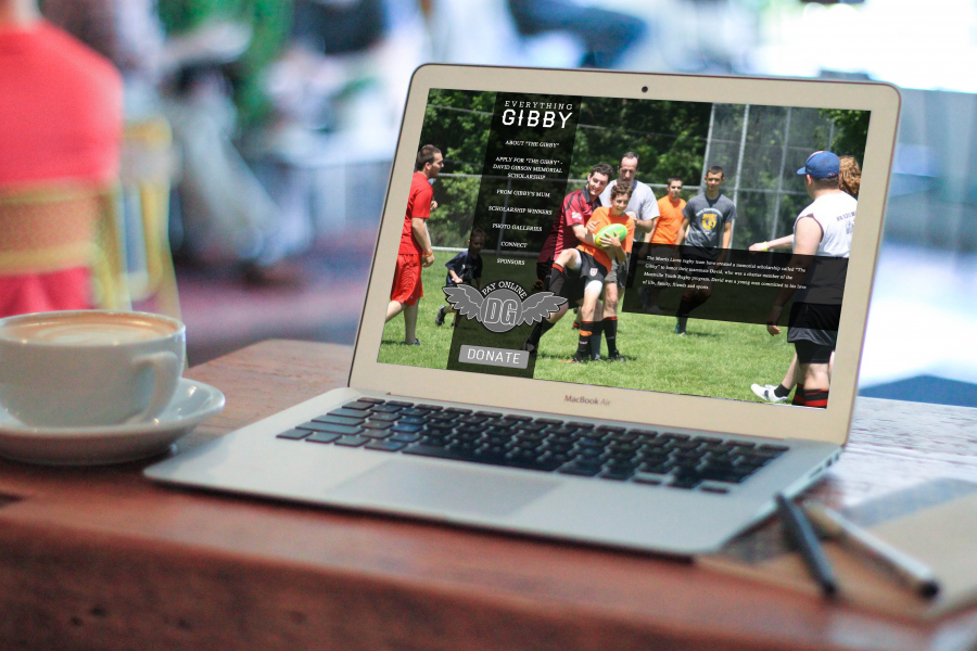 Everything Gibby Homepage Displayed on a macbook