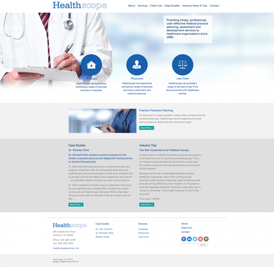 Healthscope, Website Design