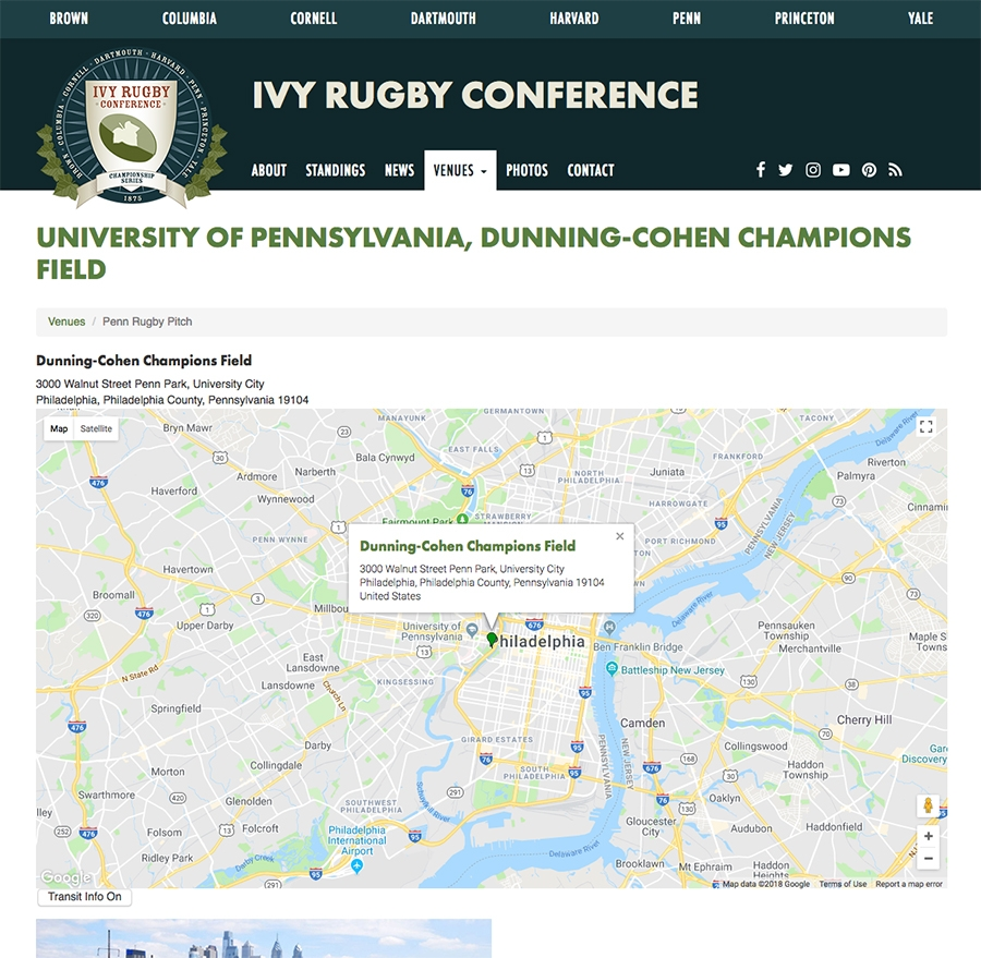 Ivy Rugby Venue Map, 8 School Locations