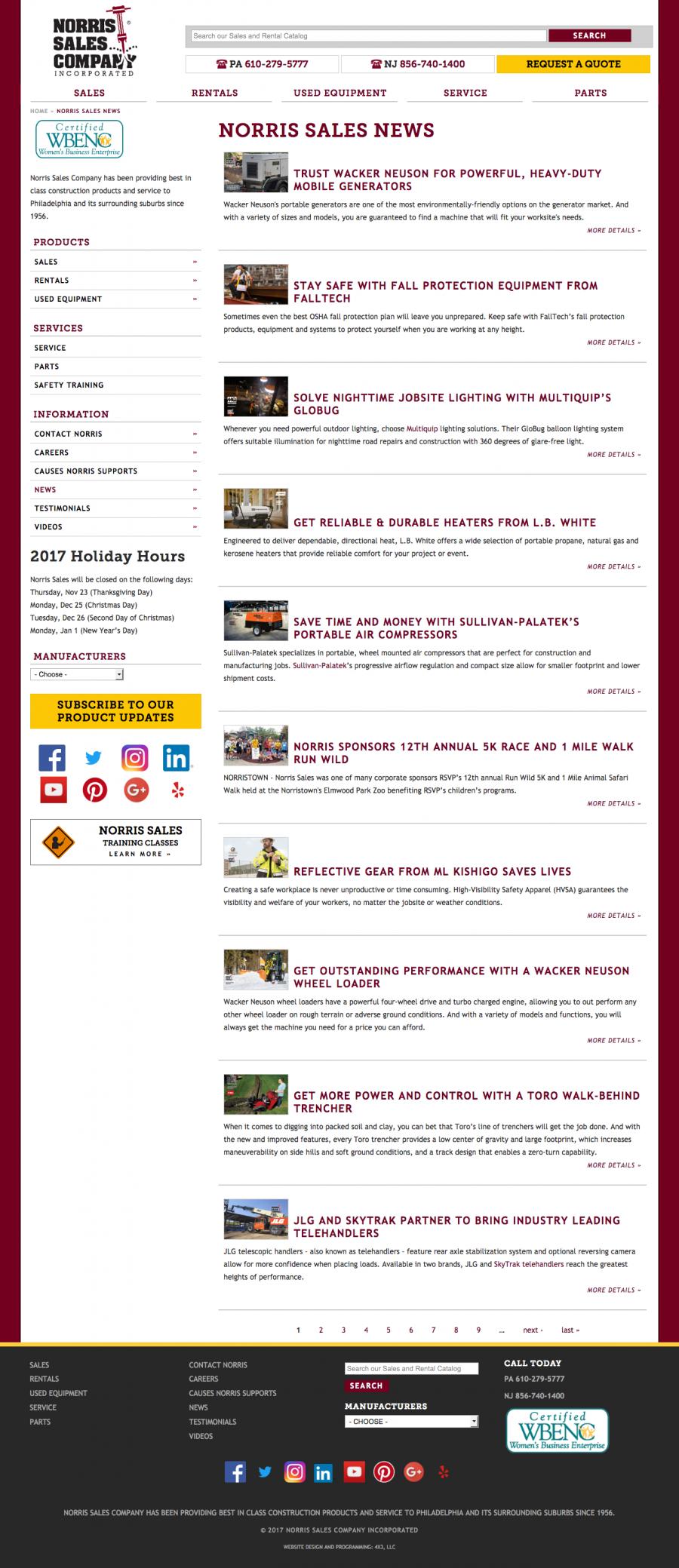 Norris Sales, Internal News Listing