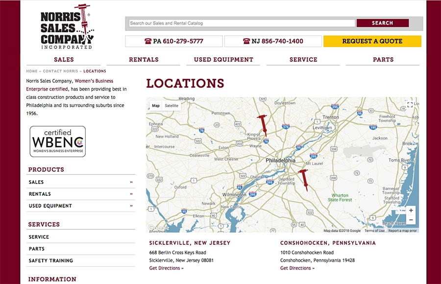 Map on Directions and Locations Landing Pages