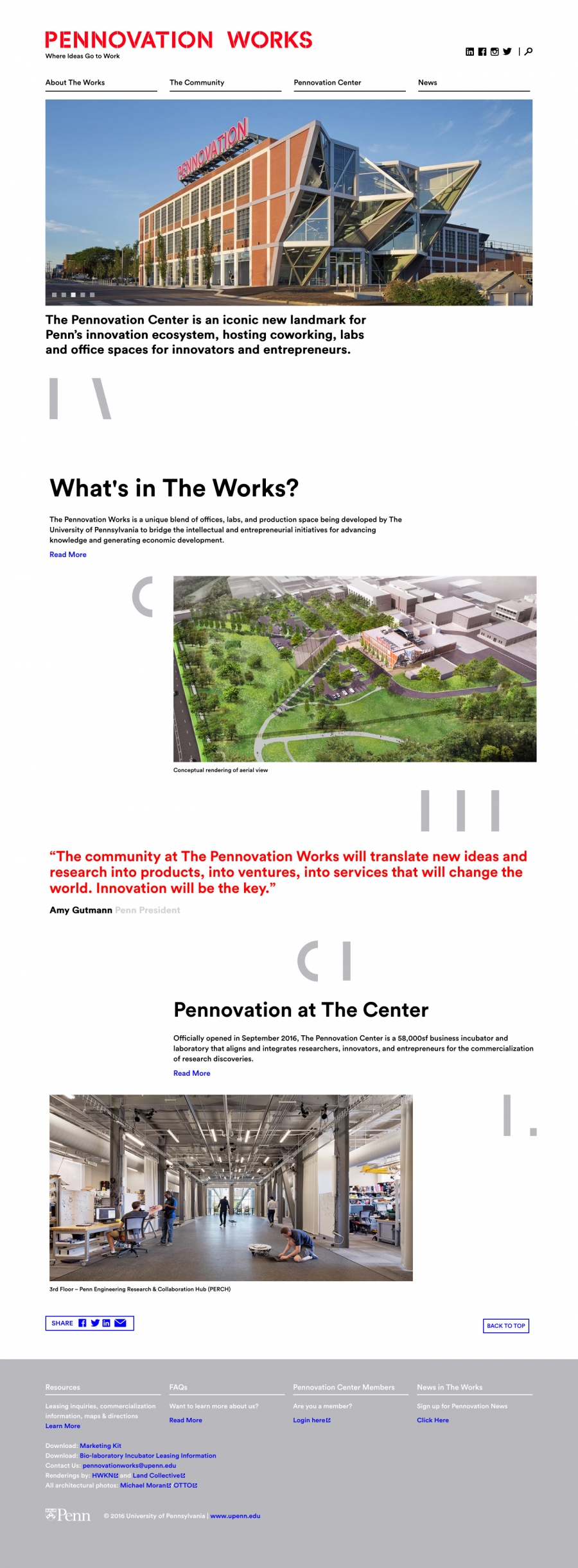 Pennovation Works homepage