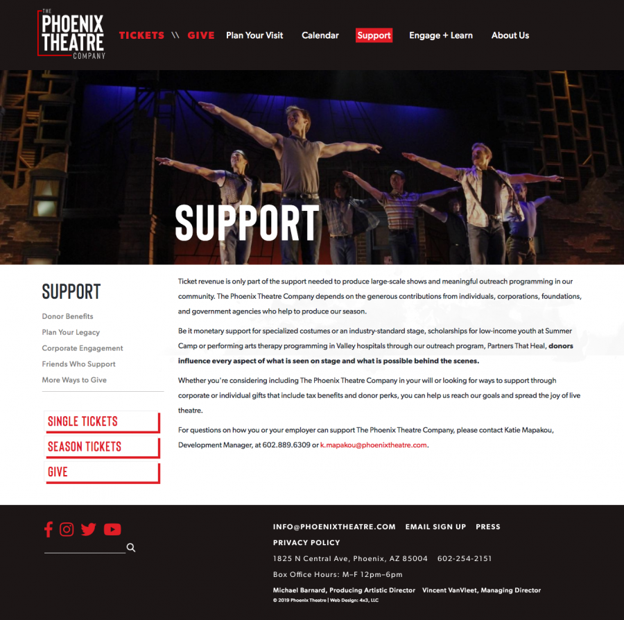 Phoenix Theatre Internal Support Landing Page