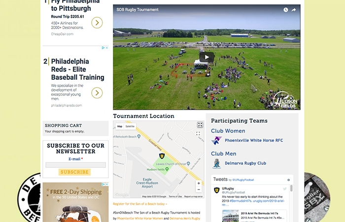 URugby Map for Tournament Venues on Internal Landing Pages