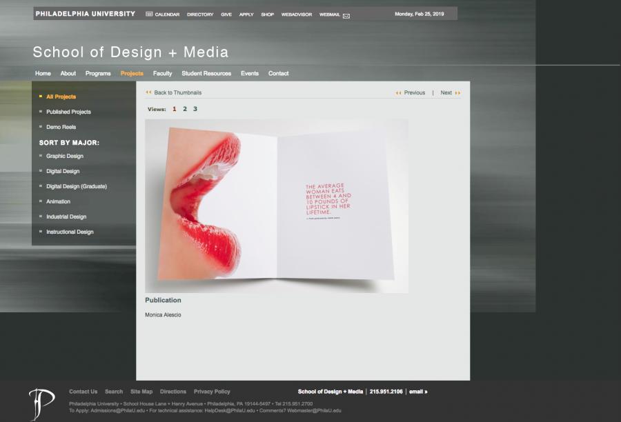 School of Design + Media Portfolio Page
