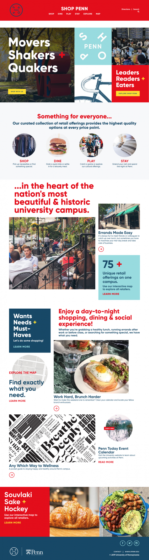 University of Pennsylvania's Shop Penn Website Homepage