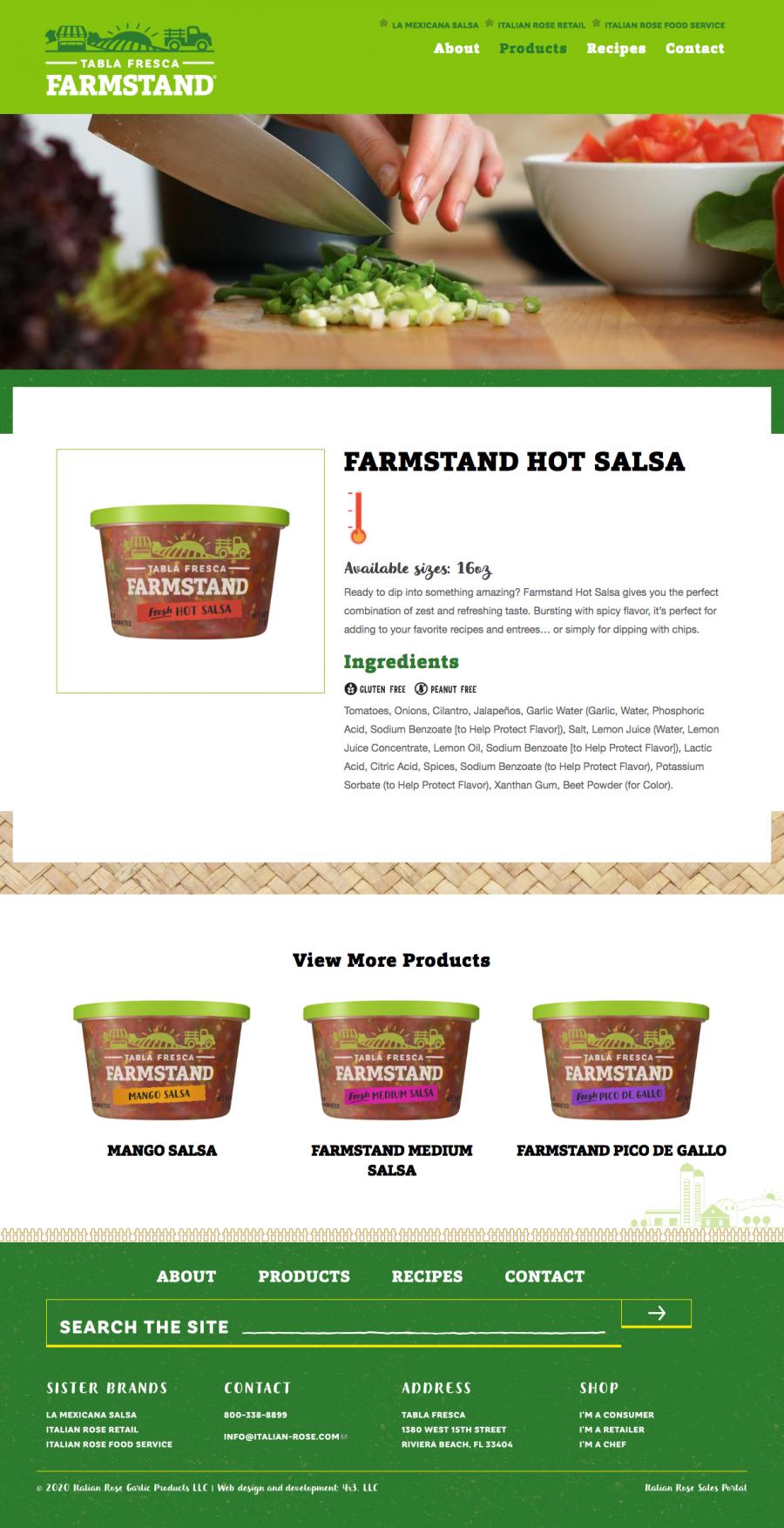 Tabla Fresca Farmstand product page