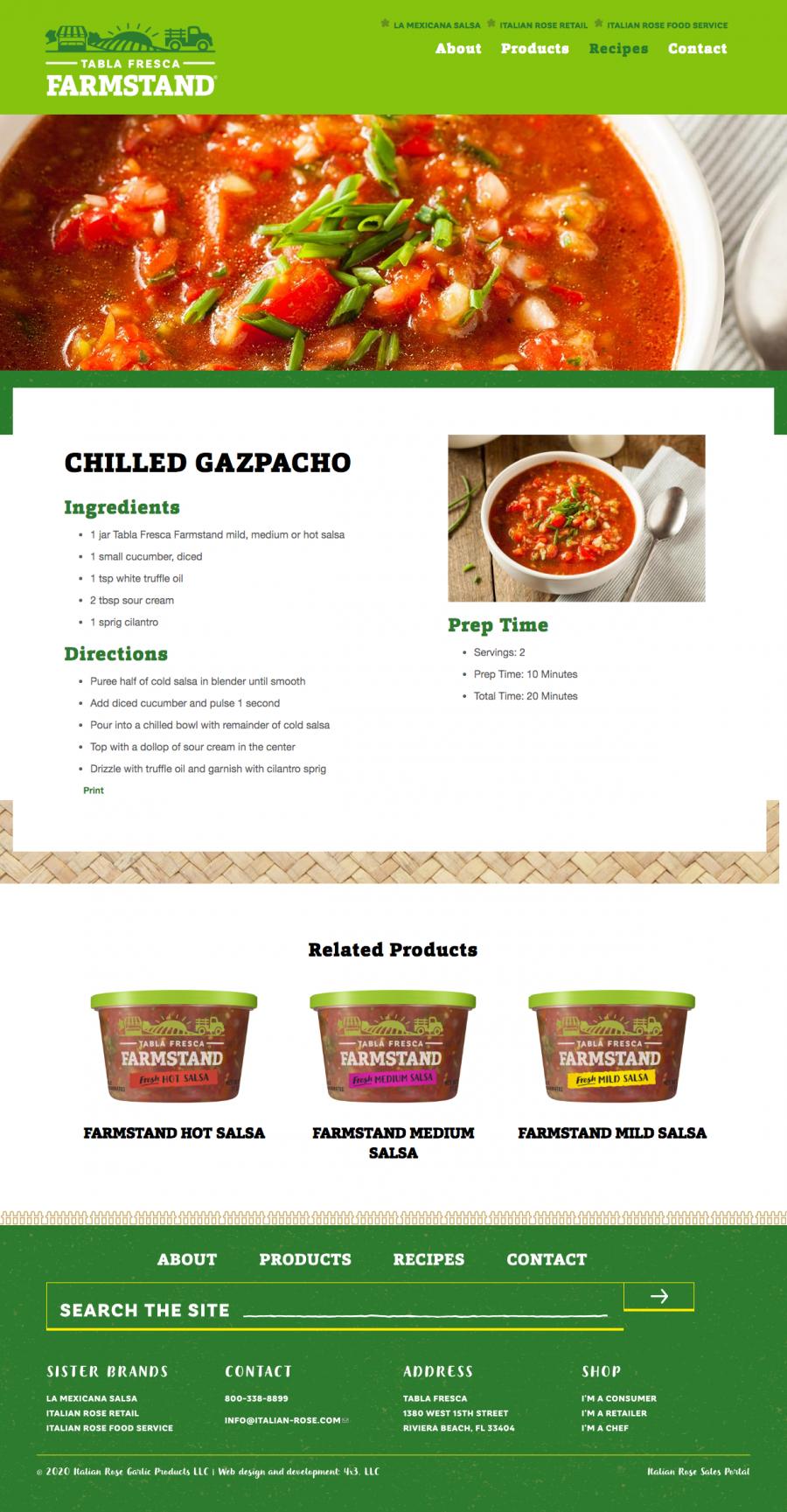 Tabla Fresca Farmstand recipes page