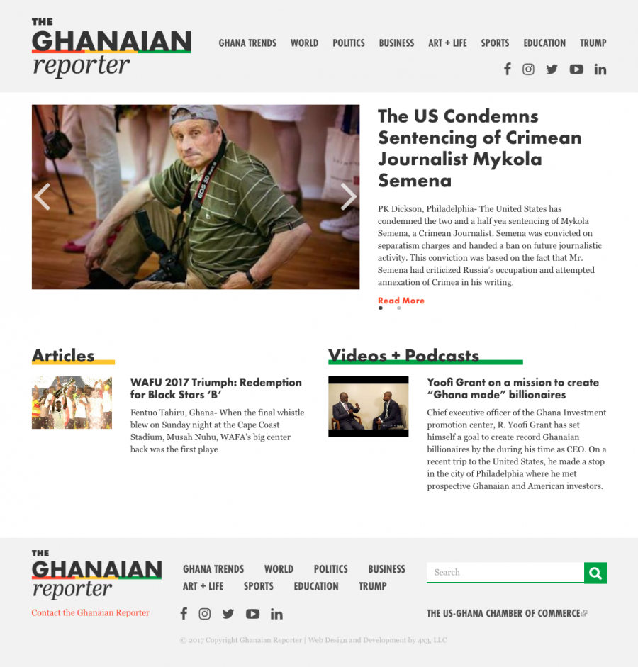 The Ghanaian Reporter homepage
