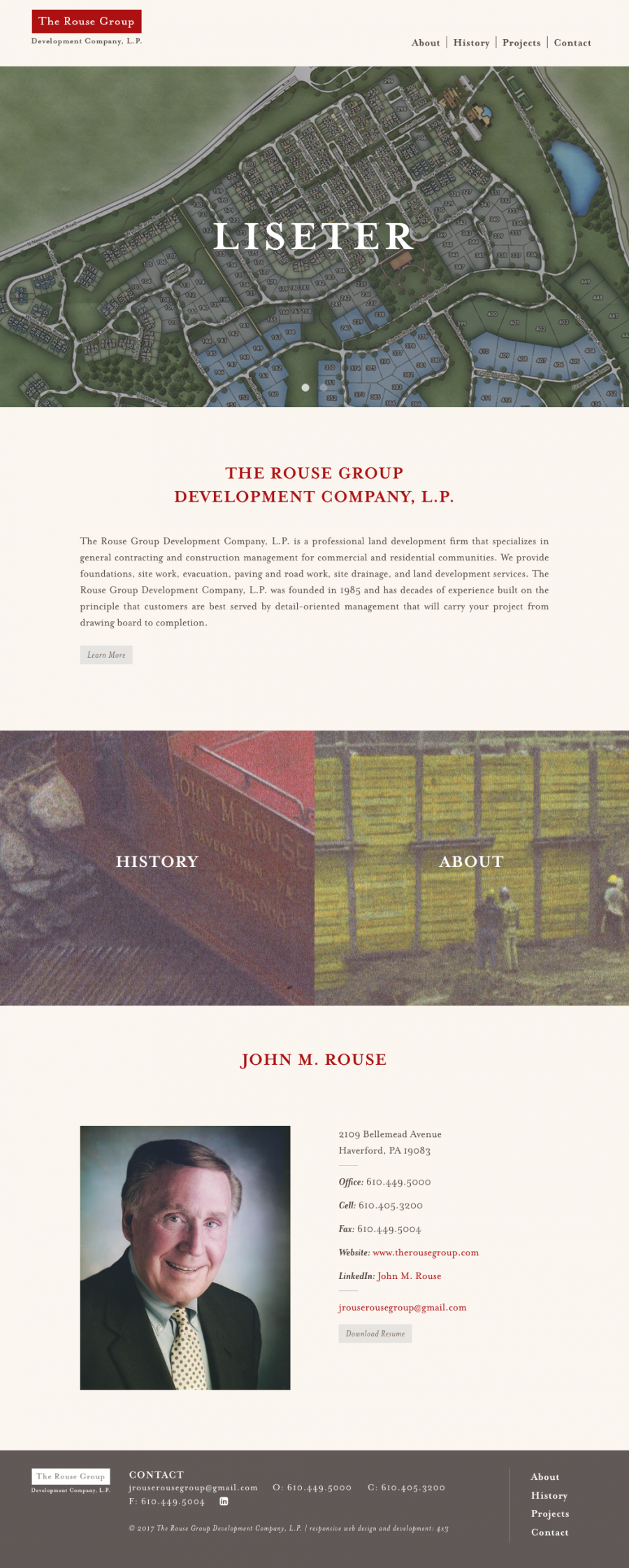 The Rouse Group Homepage, featuring company History and Projects
