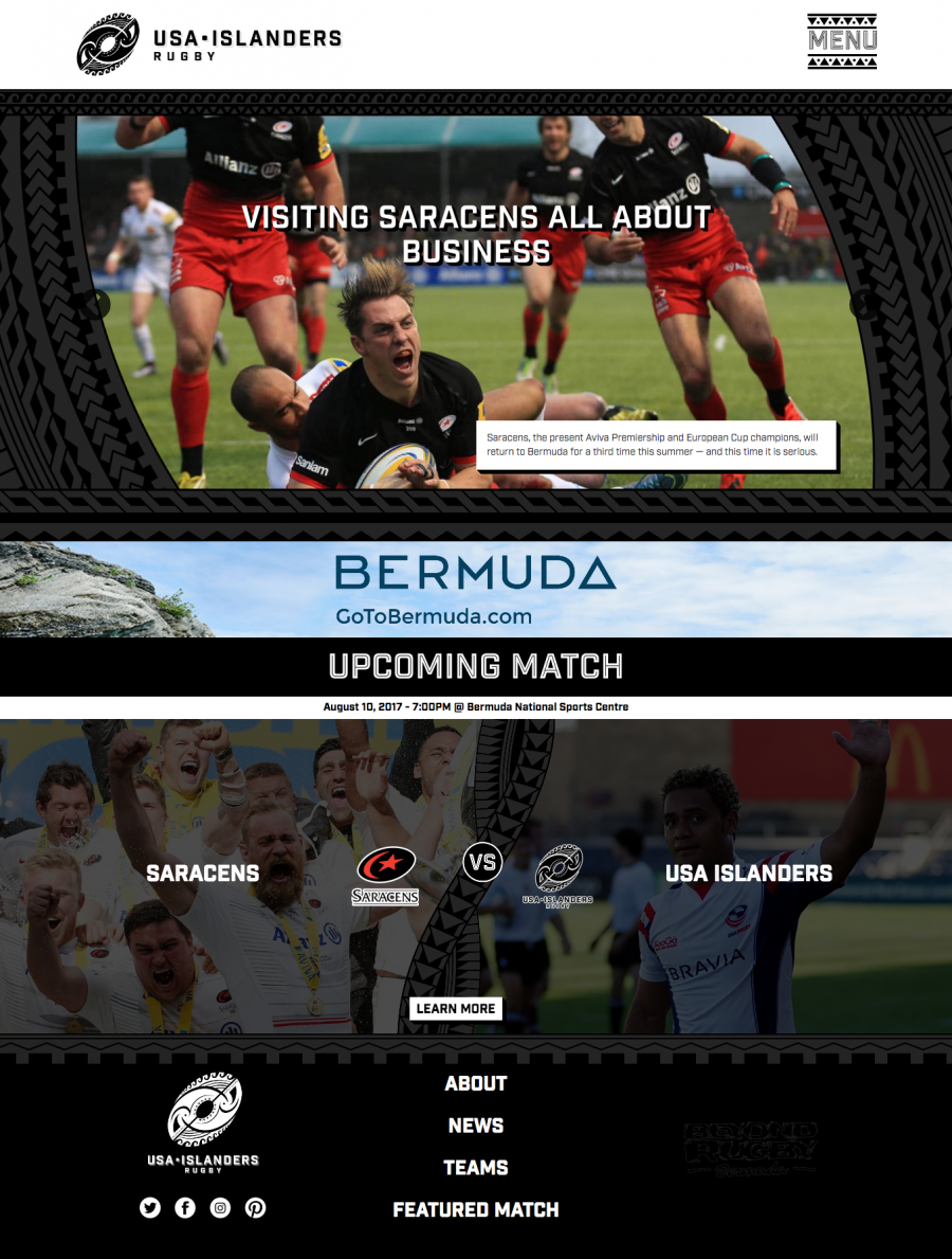 Custom Rugby Website Homepage