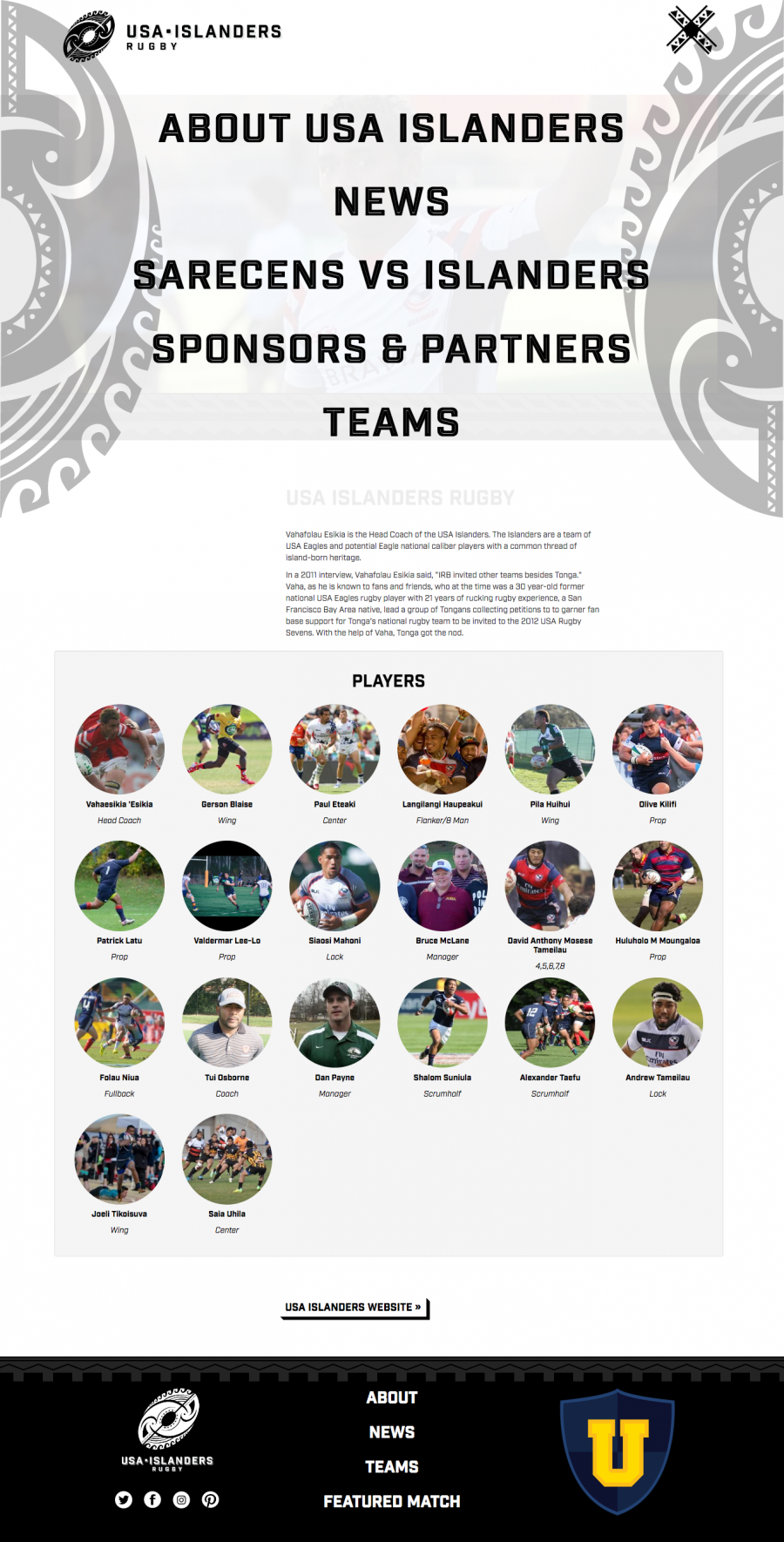 USA Islanders Team Page with Menu