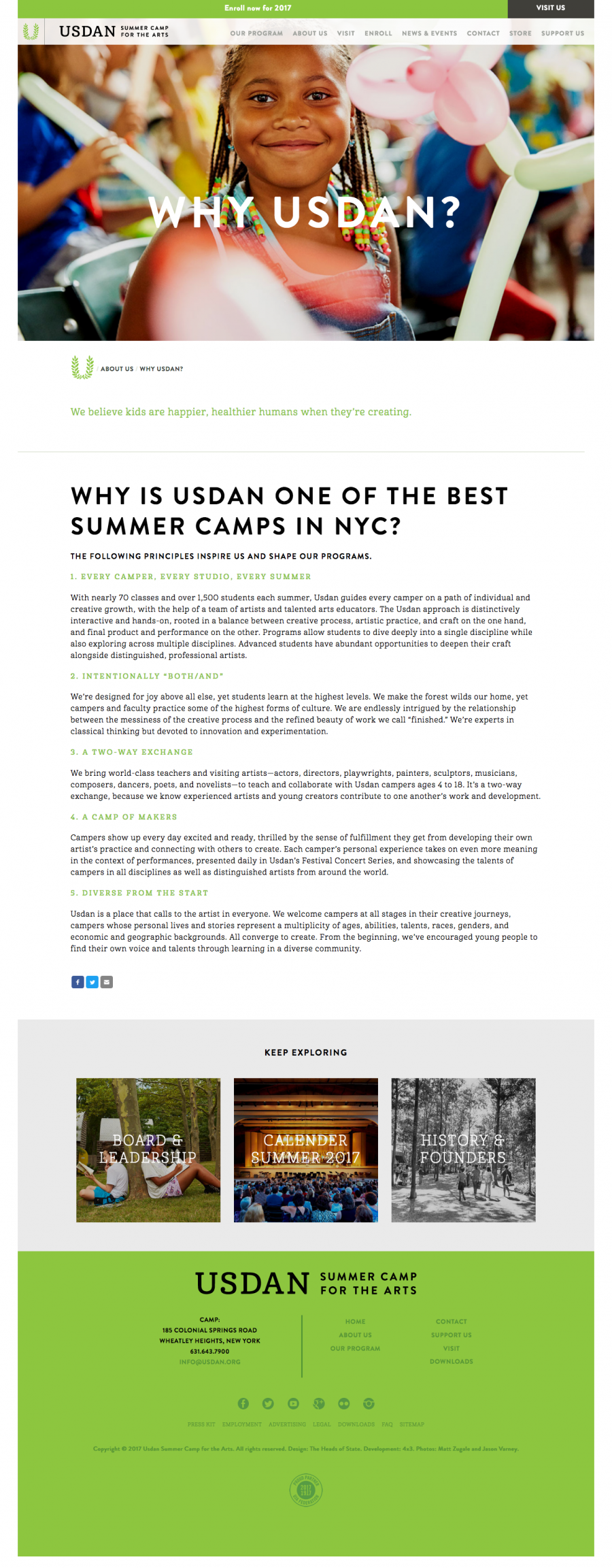 Usdan Landing Page, about the summer camp / frequently asked questions