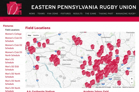 Eastern Pennsylvanian Rugby Union Field Map