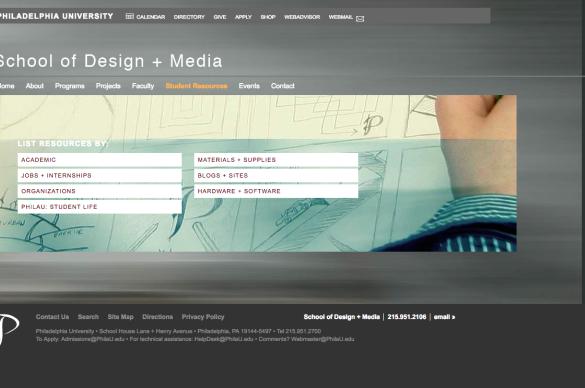 Philadelphia University School of Design + Media Website