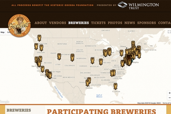 Odessa Brewfest Map, highlights the locations of local Breweries attending the Brewfest