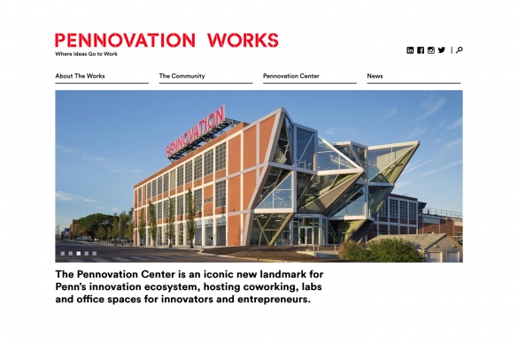Pennovation Works Website top of homepage