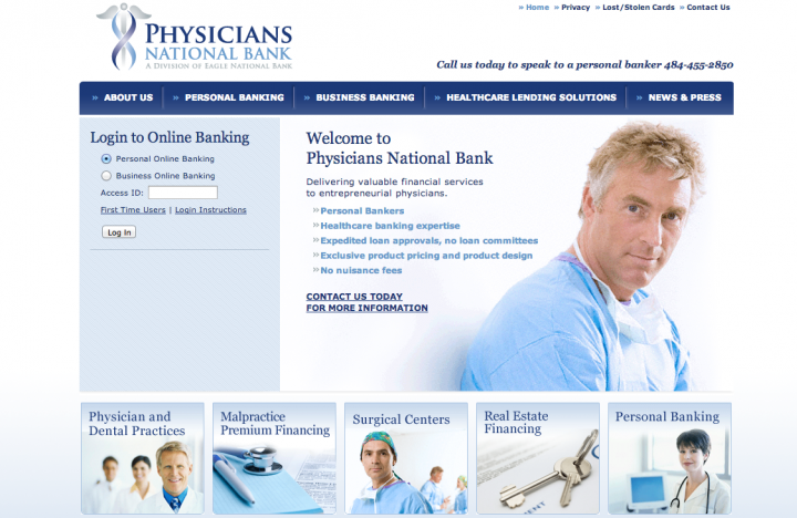 Physicians National Bank Website Homepage
