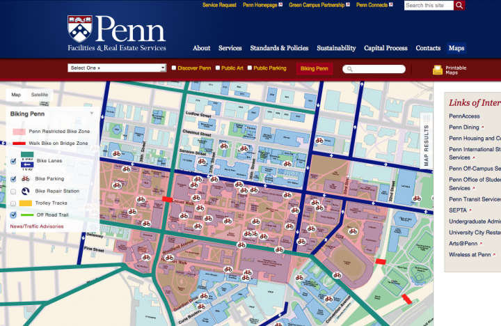 Penn Facilities and Real Estate Services Custom Google Maps