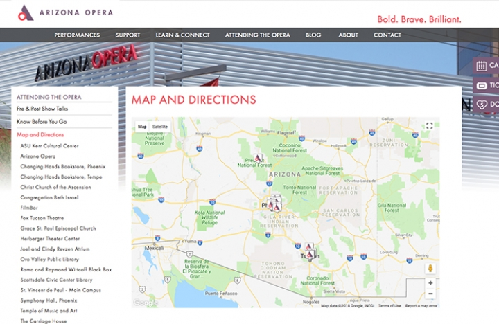 Directions Map to Arizona Opera Venue Locations in Tucson and Phoenix