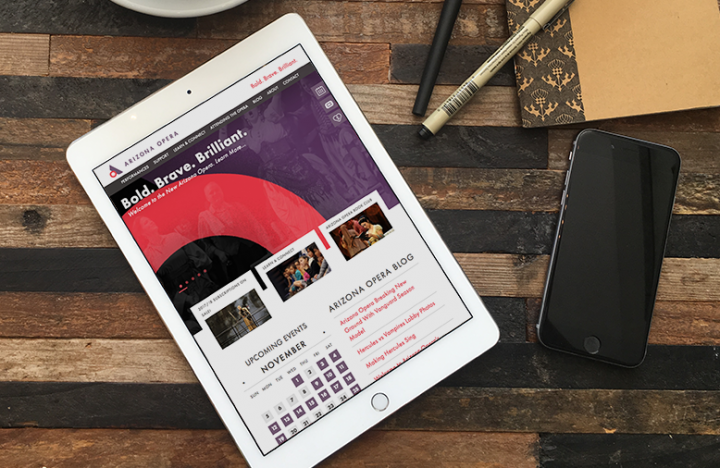 Arizona Opera New Responsive Website on iPad in Coffee Shop