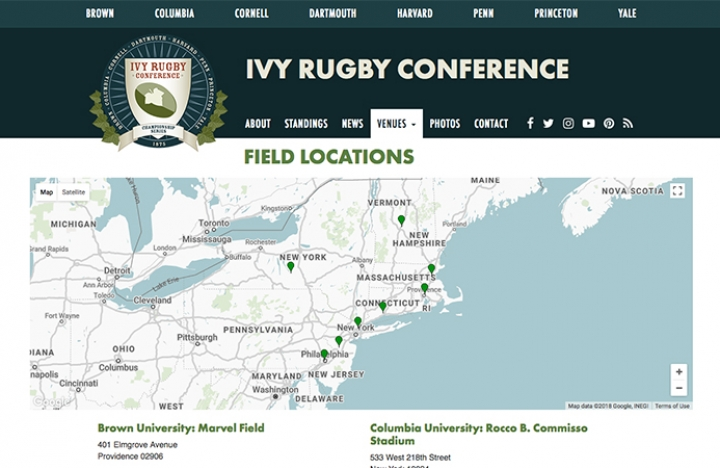 Field Locations for the Ivy Rugby Conference, 8 Schools