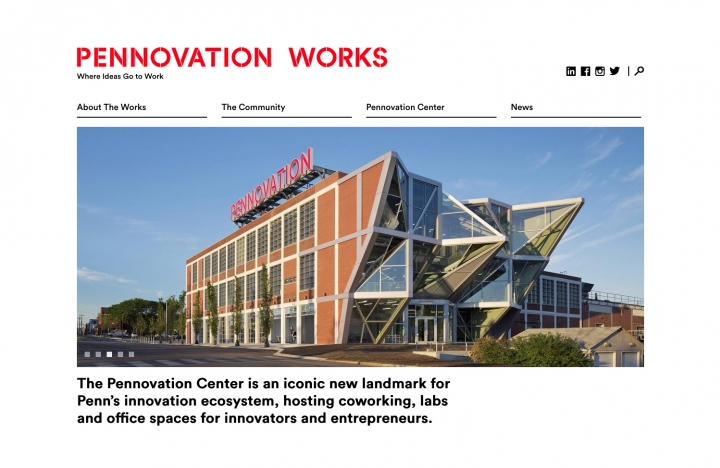 Pennovation Works Website top of homepage