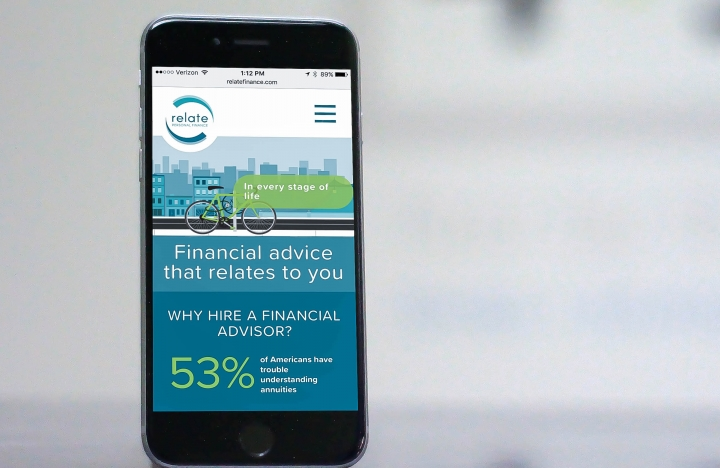 Relate Finance Responsive Web Design on iPhone